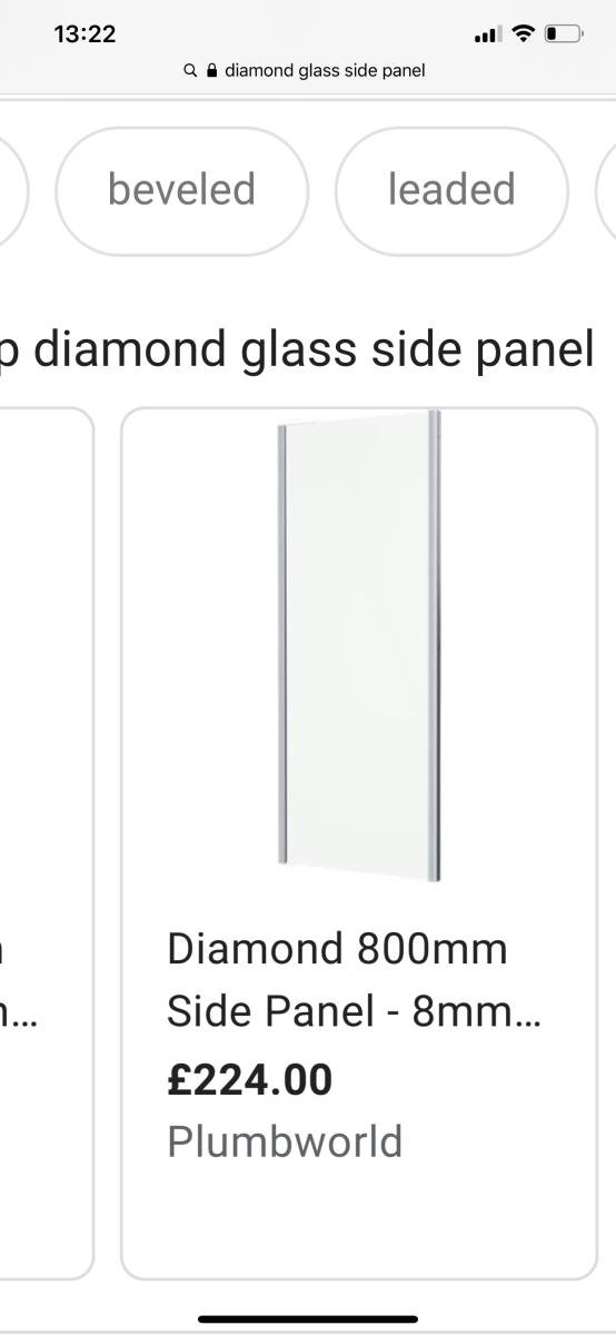 For Sale: Diamond 800mm Shower Enclosures Side Panel Only -8mm Glass Image 1